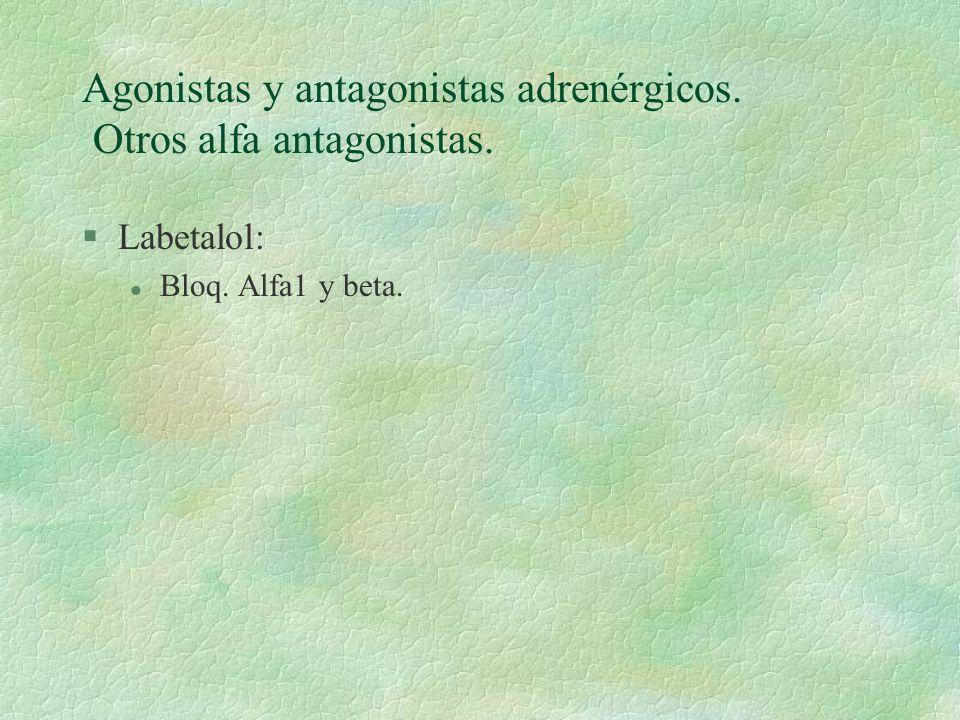 Agonistas y antagonistas adrenérgicos. Otros alfa antagonistas.
