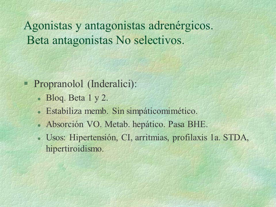 Agonistas y antagonistas adrenérgicos. Beta antagonistas No selectivos.