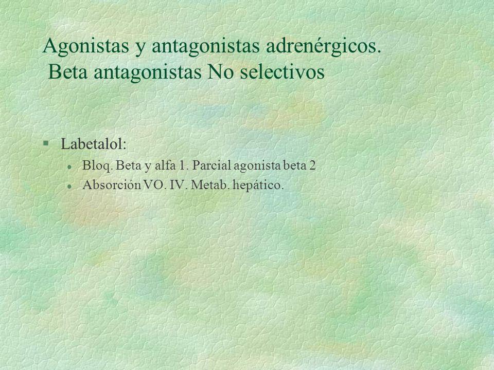 Agonistas y antagonistas adrenérgicos. Beta antagonistas No selectivos