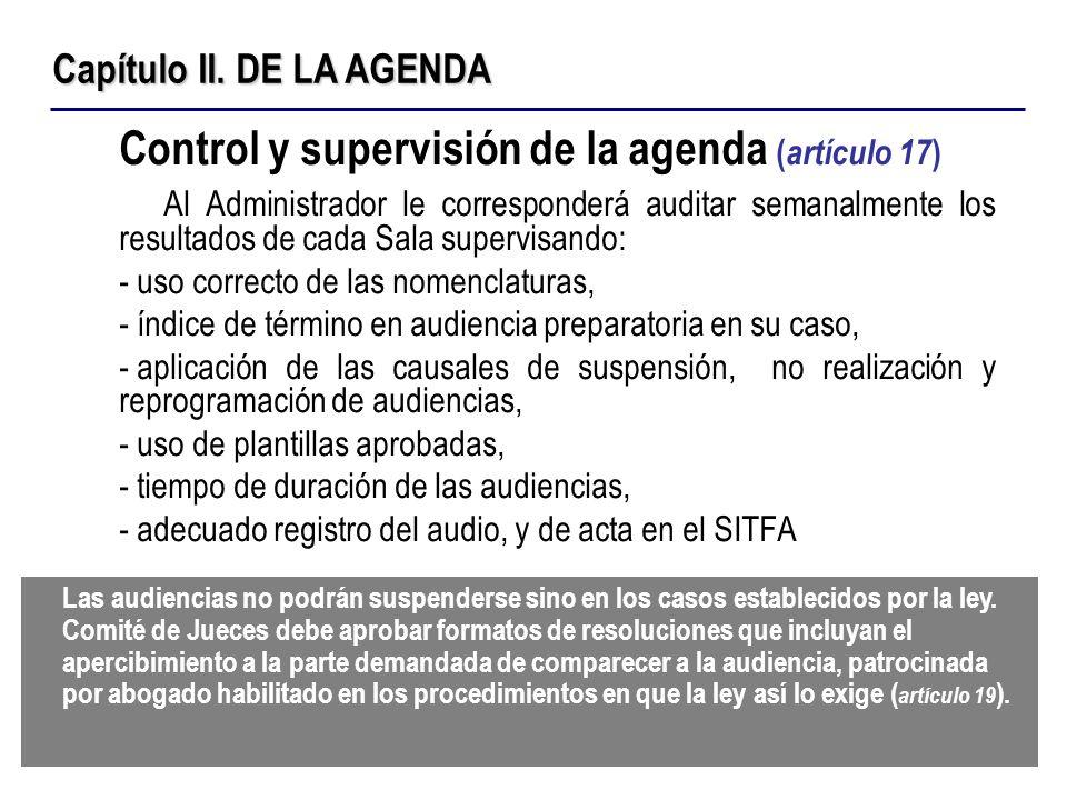 Control y supervisión de la agenda (artículo 17)