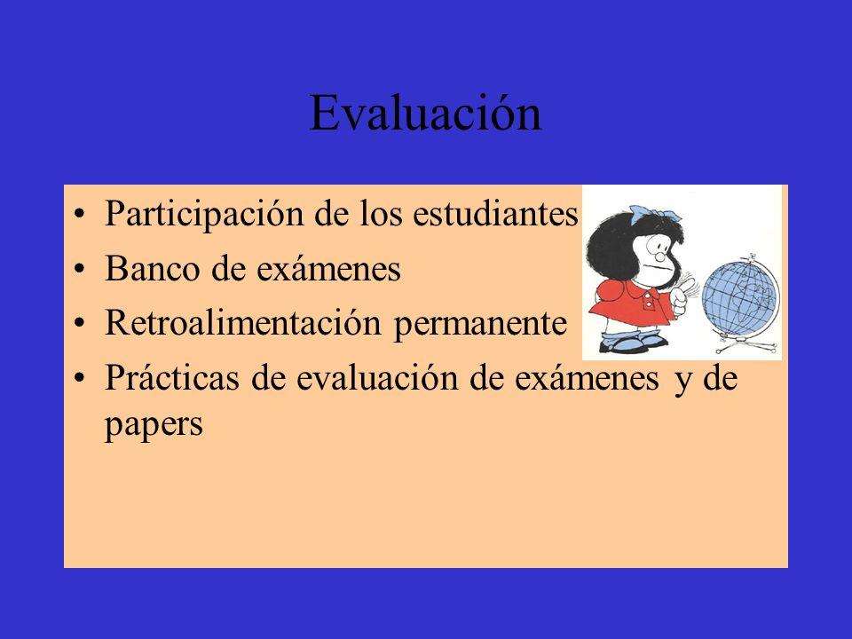 Evaluación Participación de los estudiantes Banco de exámenes
