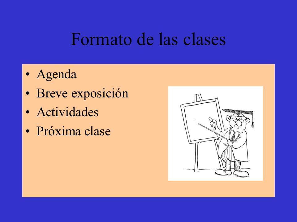 Formato de las clases Agenda Breve exposición Actividades