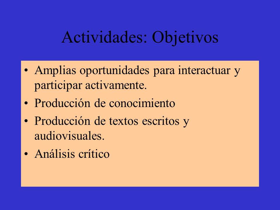 Actividades: Objetivos