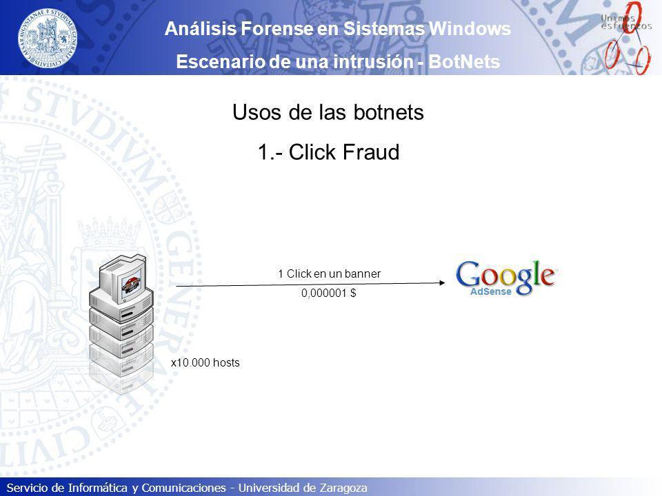 Usos de las botnets 1.- Click Fraud