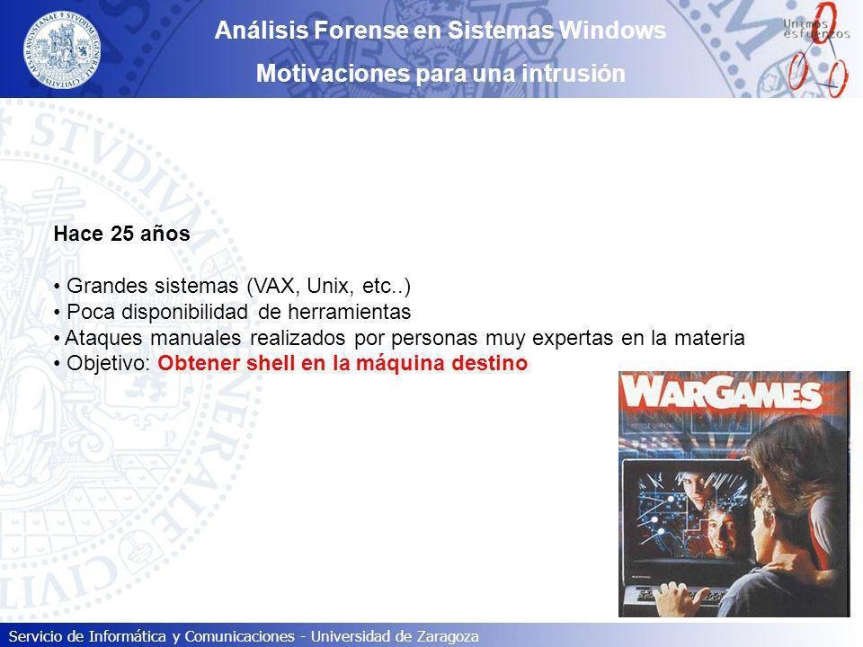Análisis Forense en Sistemas Windows Motivaciones para una intrusión