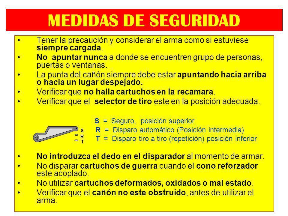 MEDIDAS DE SEGURIDADTener la precaución y considerar el arma como si estuviese siempre cargada.