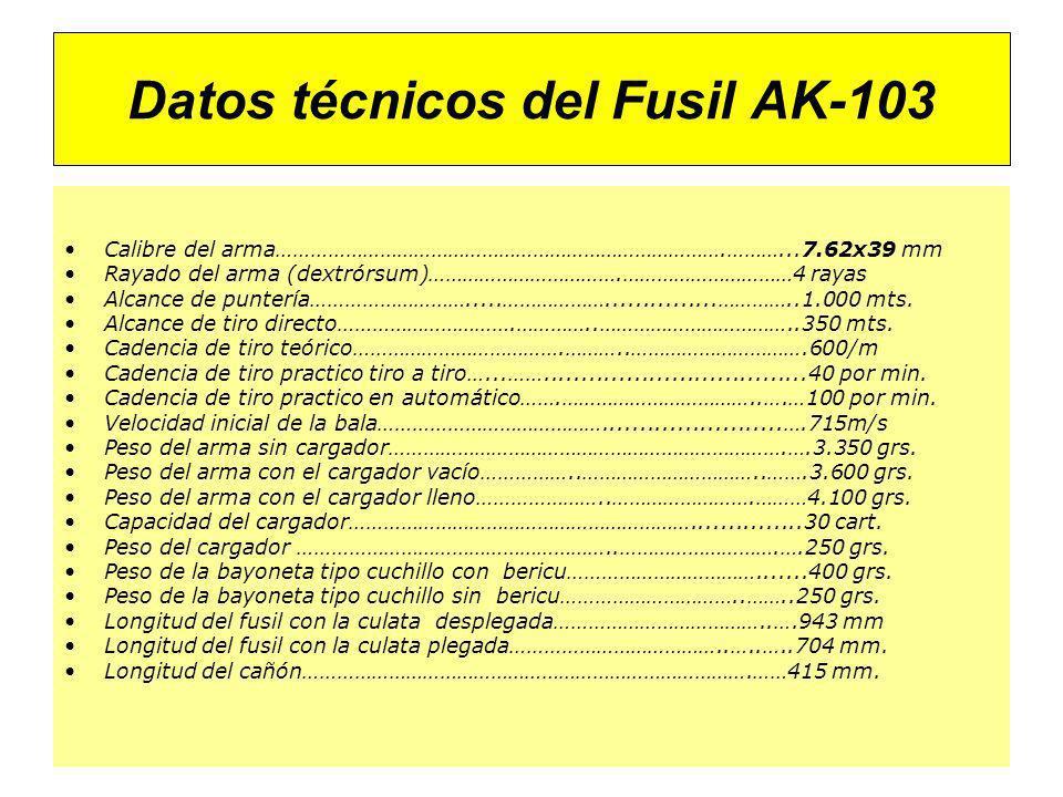 Datos técnicos del Fusil AK-103