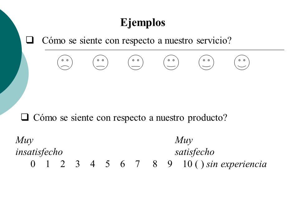 Ejemplos Cómo se siente con respecto a nuestro servicio