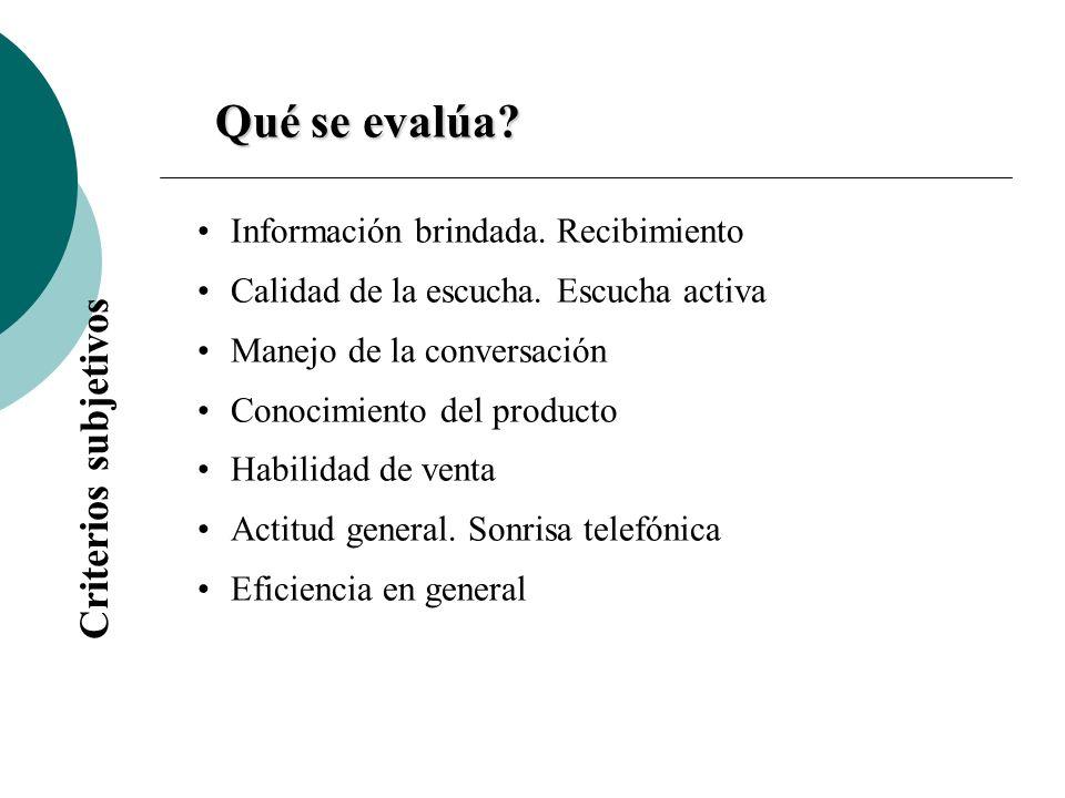 Qué se evalúa Criterios subjetivos Información brindada. Recibimiento