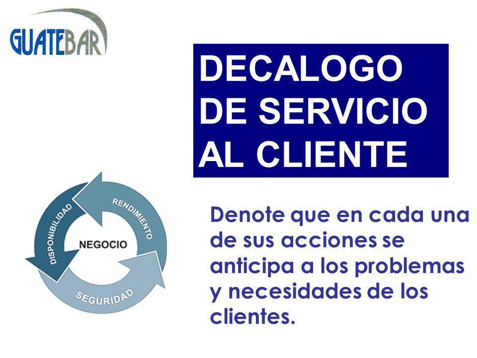 DECALOGO DE SERVICIO AL CLIENTE