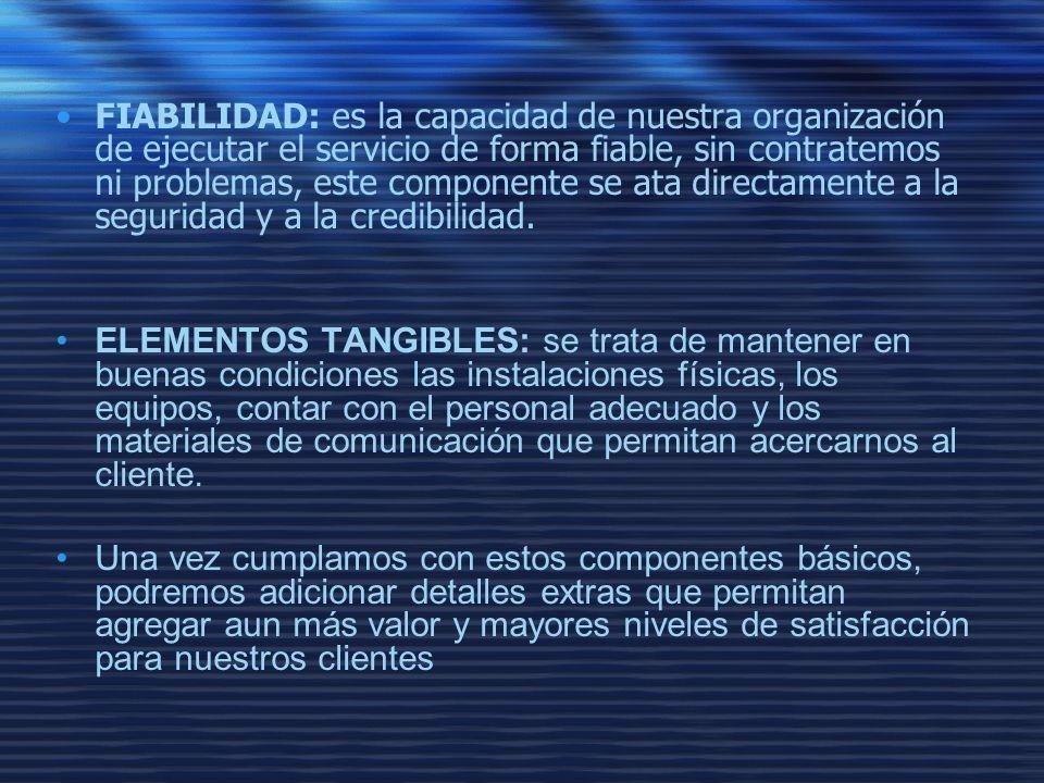 FIABILIDAD: es la capacidad de nuestra organización de ejecutar el servicio de forma fiable, sin contratemos ni problemas, este componente se ata directamente a la seguridad y a la credibilidad.