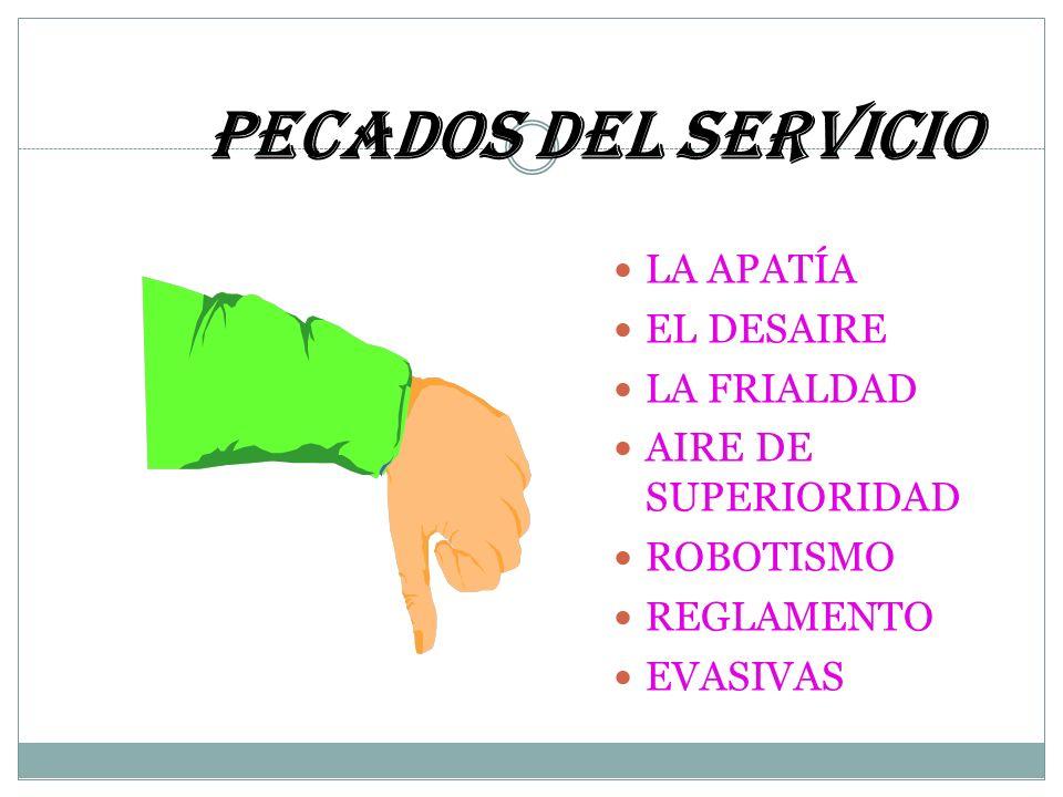 PECADOS DEL SERVICIO LA APATÍA EL DESAIRE LA FRIALDAD