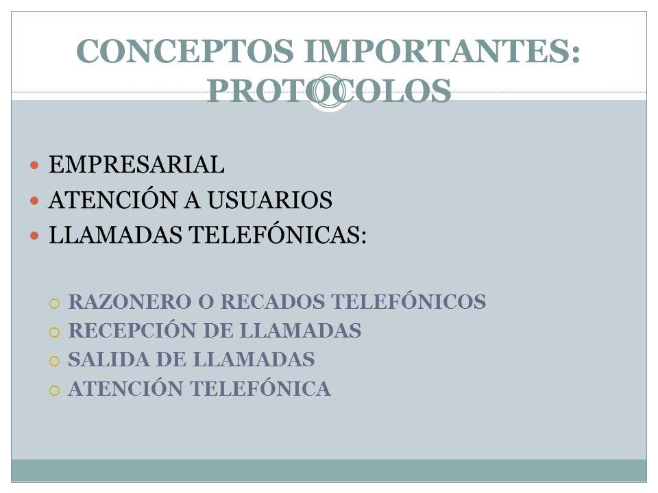 CONCEPTOS IMPORTANTES: PROTOCOLOS
