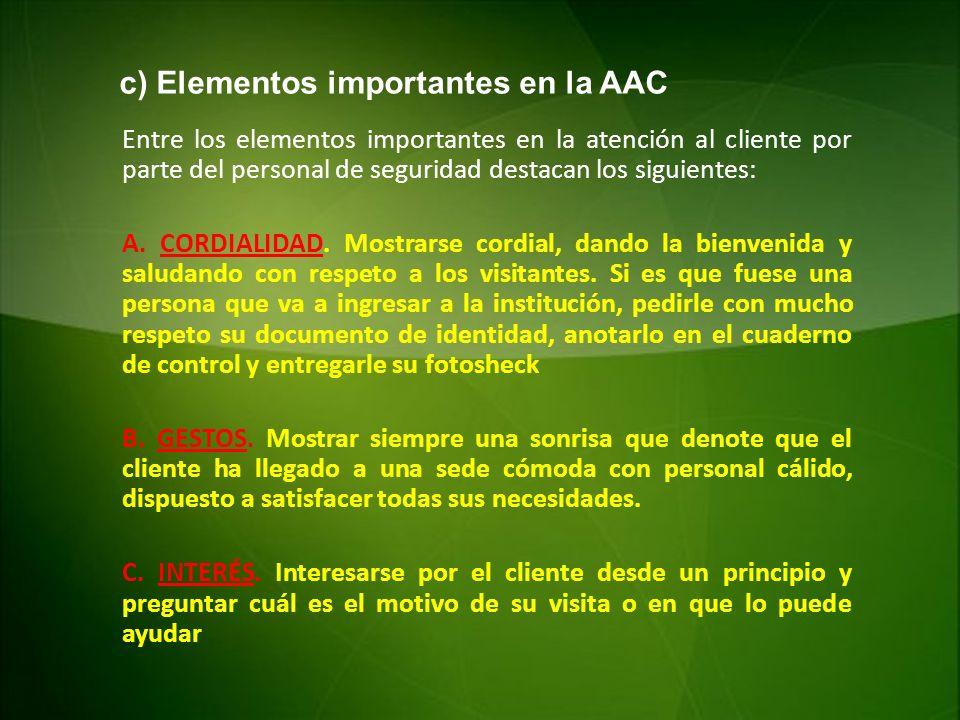 c) Elementos importantes en la AAC