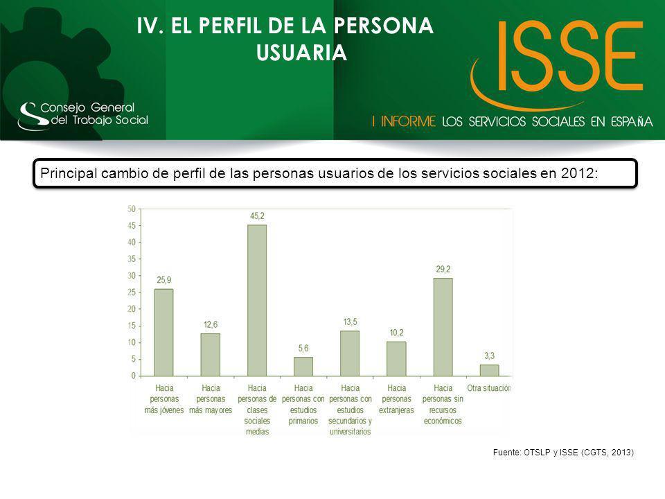 IV. EL PERFIL DE LA PERSONA USUARIA