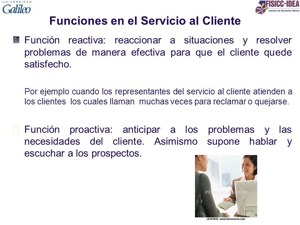 Funciones en el Servicio al Cliente