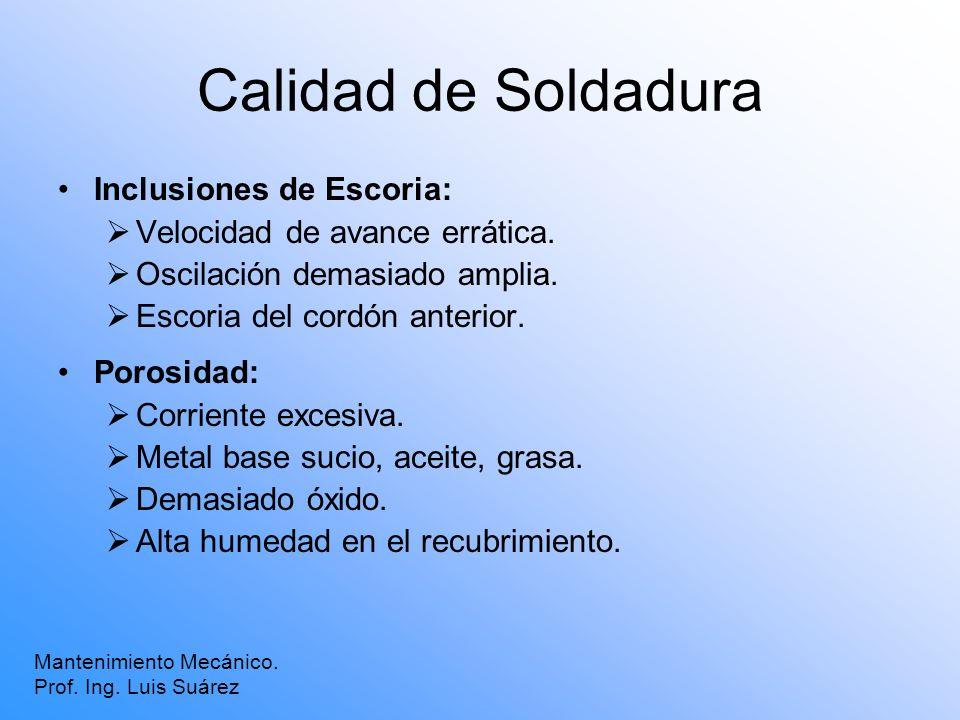 Calidad de Soldadura Inclusiones de Escoria: