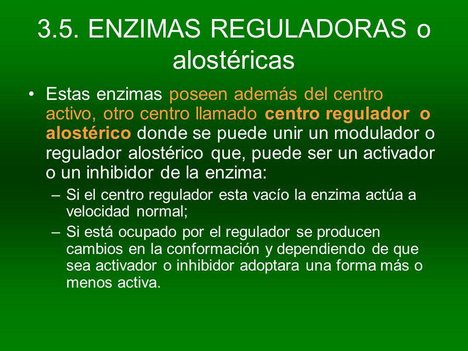 3.5. ENZIMAS REGULADORAS o alostéricas
