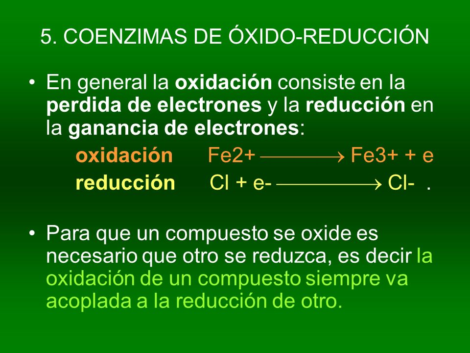 5. COENZIMAS DE ÓXIDO-REDUCCIÓN