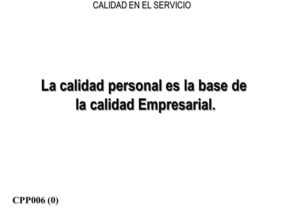La calidad personal es la base de la calidad Empresarial.