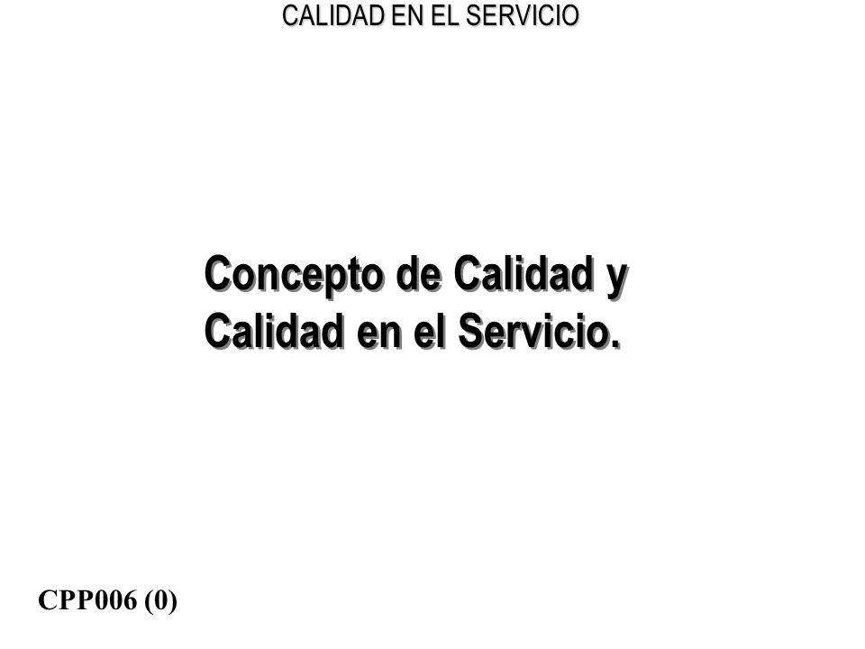 Concepto de Calidad y Calidad en el Servicio. CPP006 (0)