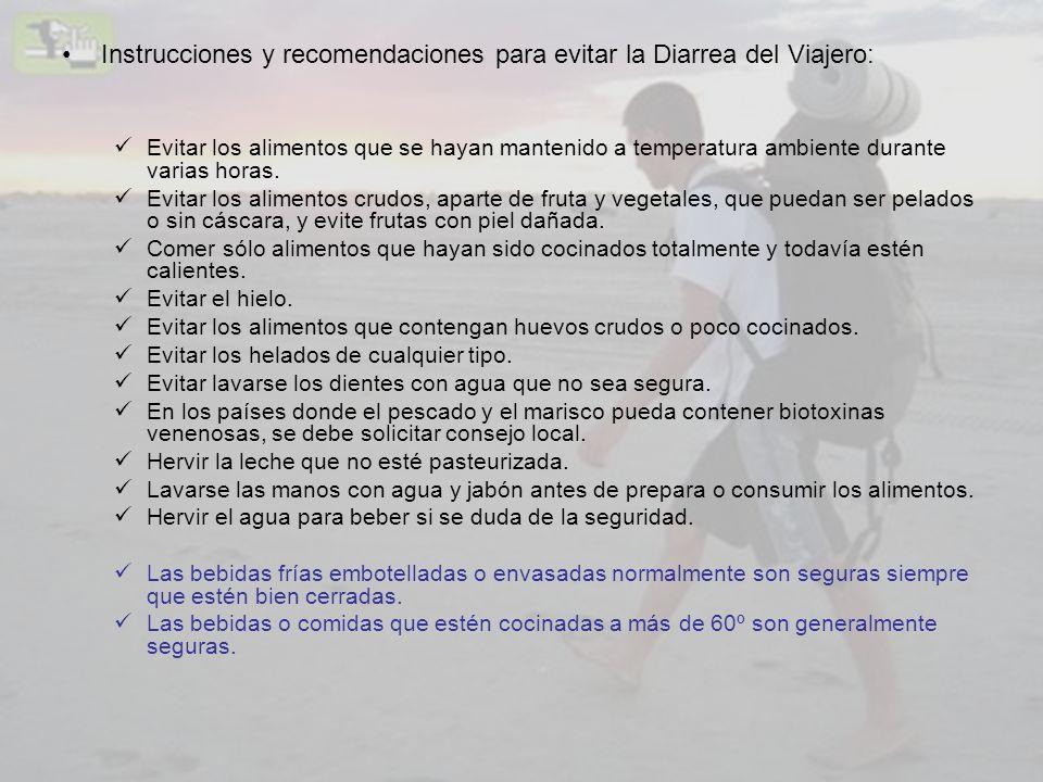 Instrucciones y recomendaciones para evitar la Diarrea del Viajero: