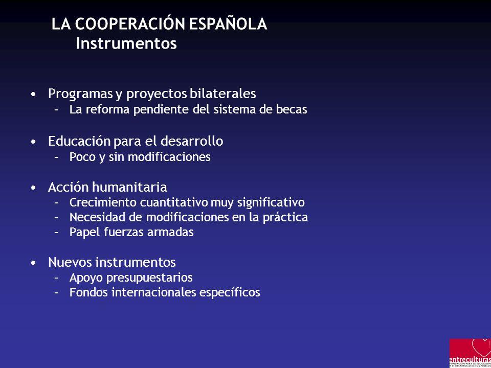 LA COOPERACIÓN ESPAÑOLA Instrumentos