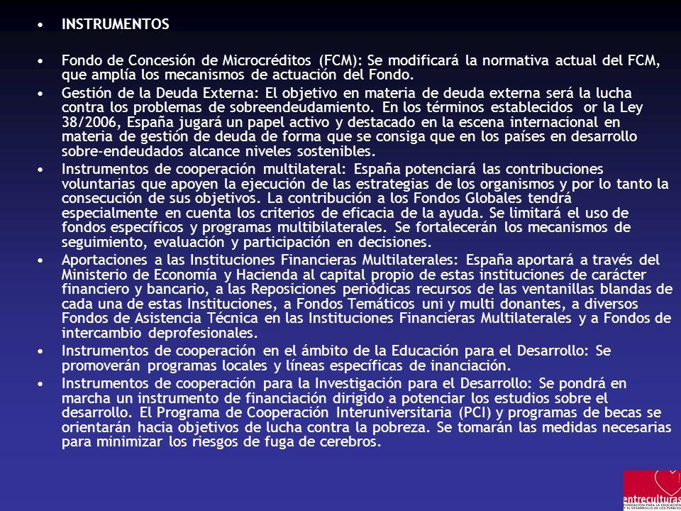INSTRUMENTOSFondo de Concesión de Microcréditos (FCM): Se modificará la normativa actual del FCM, que amplía los mecanismos de actuación del Fondo.