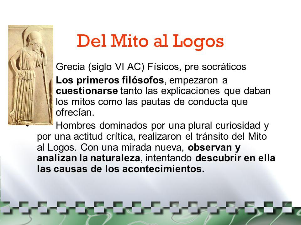 Del Mito al Logos Grecia (siglo VI AC) Físicos, pre socráticos