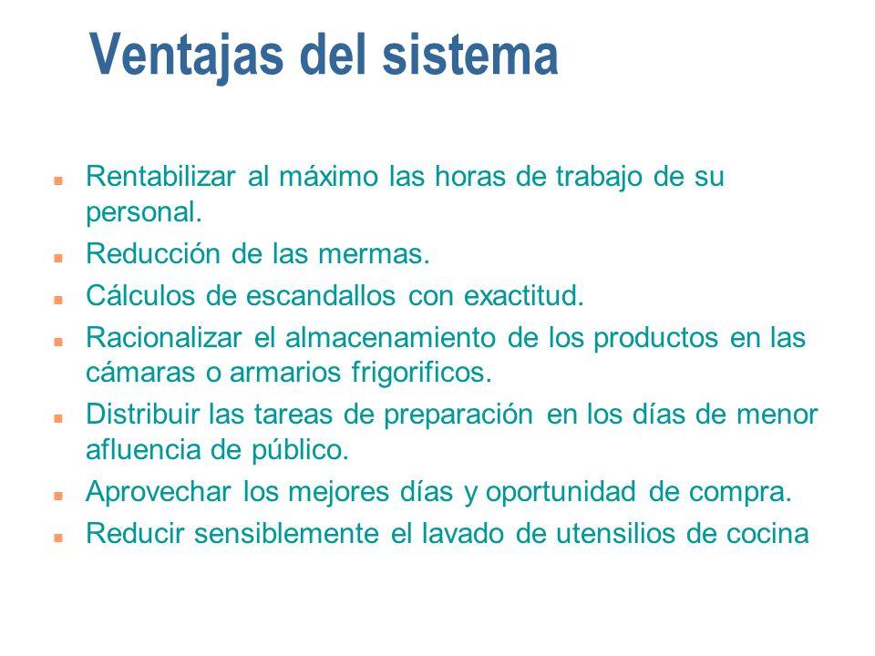 Ventajas del sistema Rentabilizar al máximo las horas de trabajo de su personal. Reducción de las mermas.
