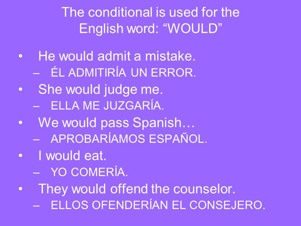 The conditional is used for the English word: WOULD
