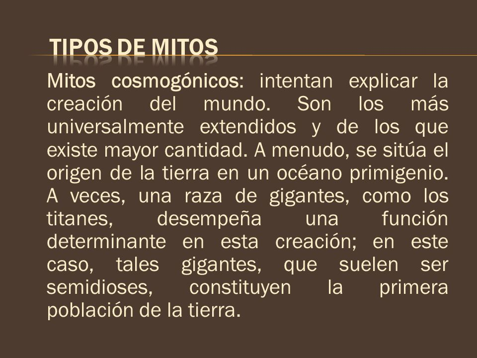 TIPOS DE MITOS