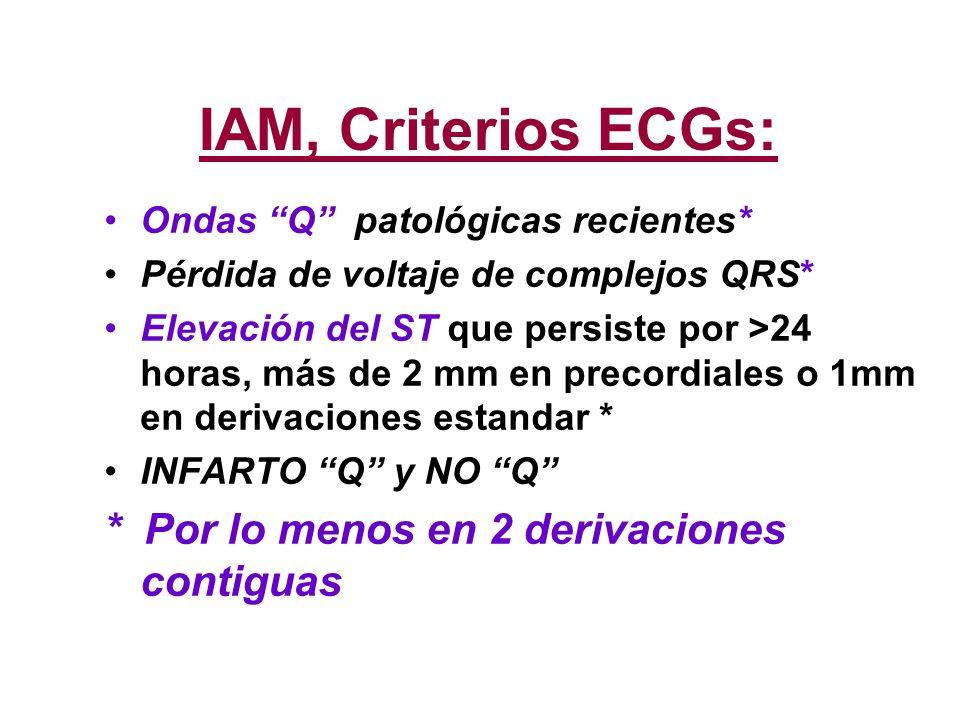 IAM, Criterios ECGs: * Por lo menos en 2 derivaciones contiguas