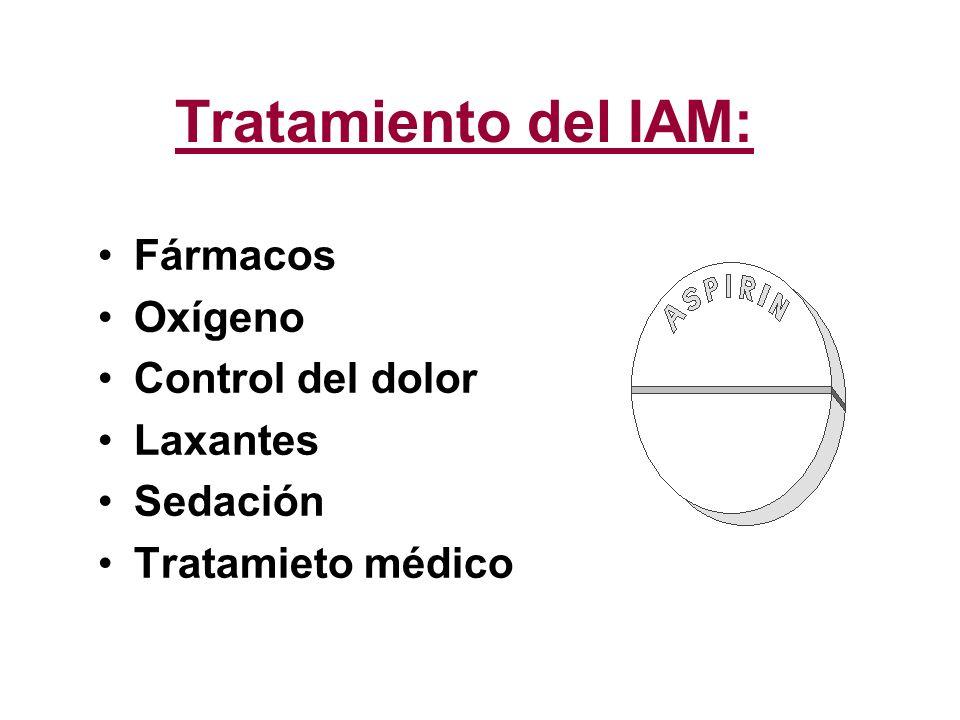 Tratamiento del IAM: Fármacos Oxígeno Control del dolor Laxantes