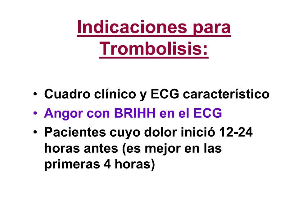 Indicaciones para Trombolisis: