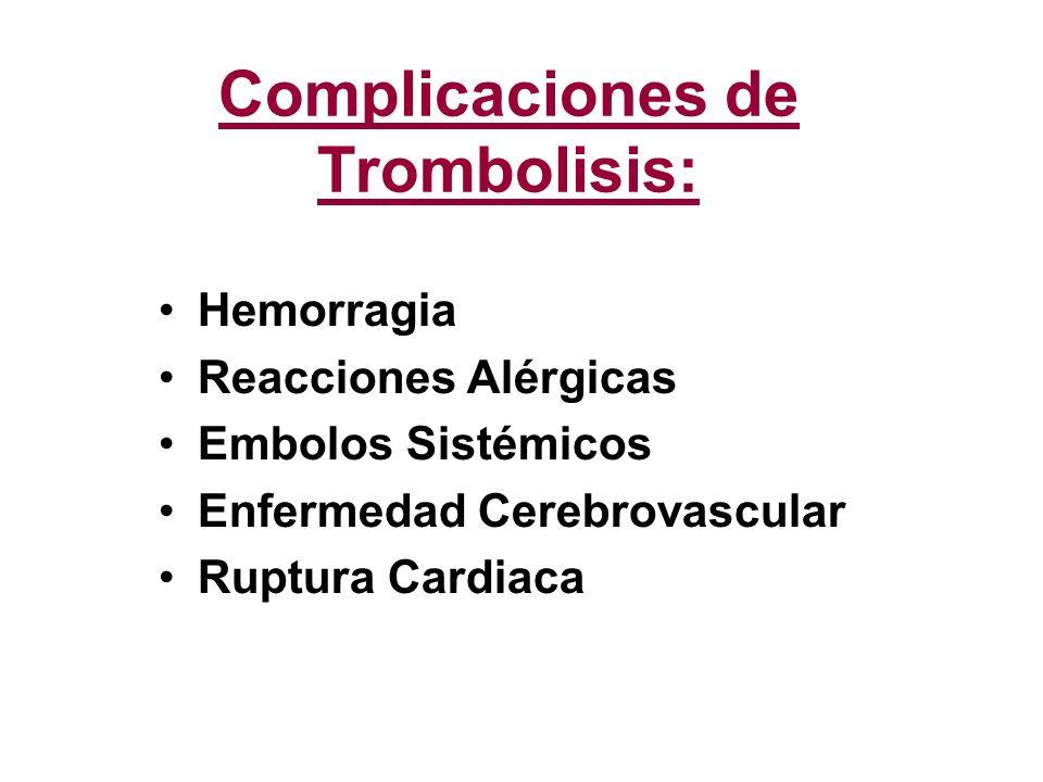 Complicaciones de Trombolisis: