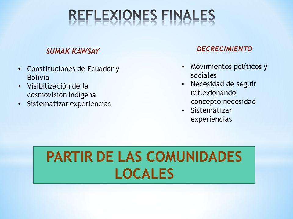 PARTIR DE LAS COMUNIDADES LOCALES