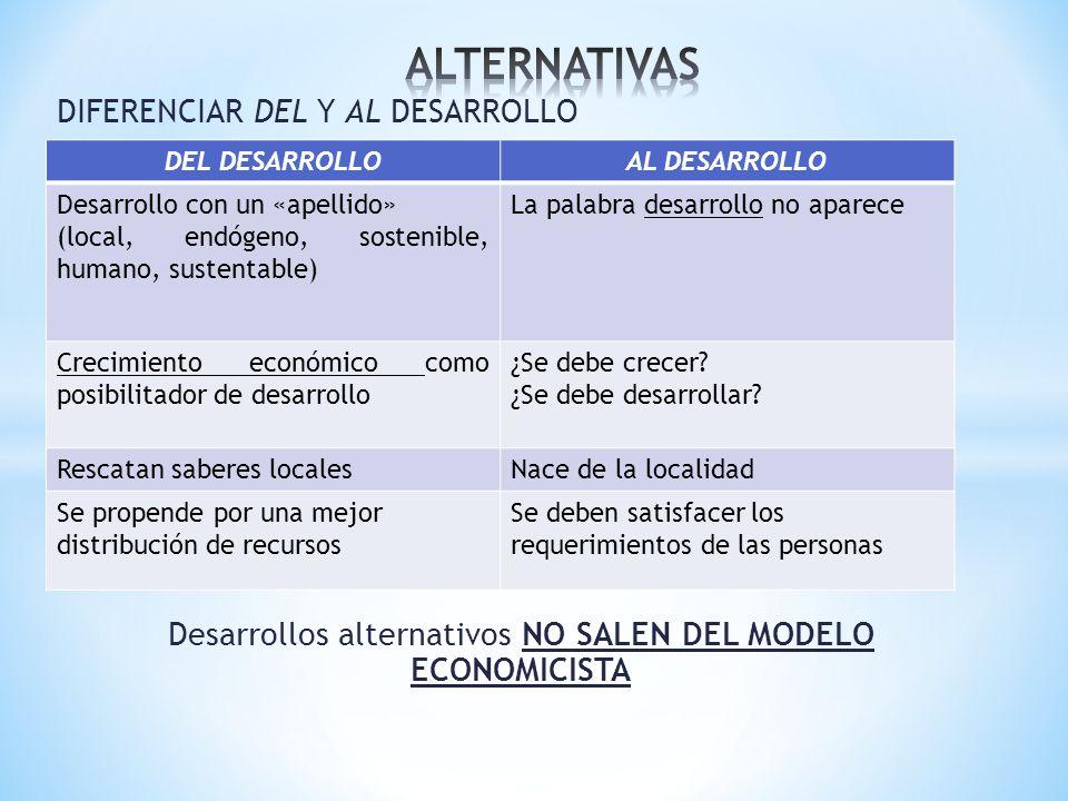 Desarrollos alternativos NO SALEN DEL MODELO ECONOMICISTA