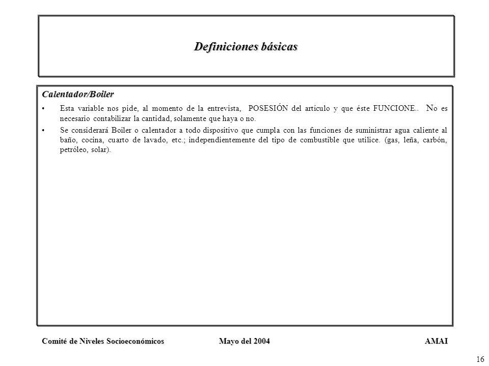Definiciones básicas Calentador/Boiler