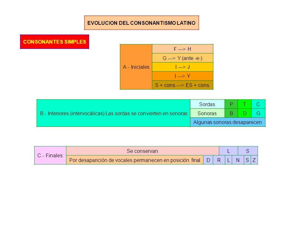 EVOLUCION DEL CONSONANTISMO LATINO