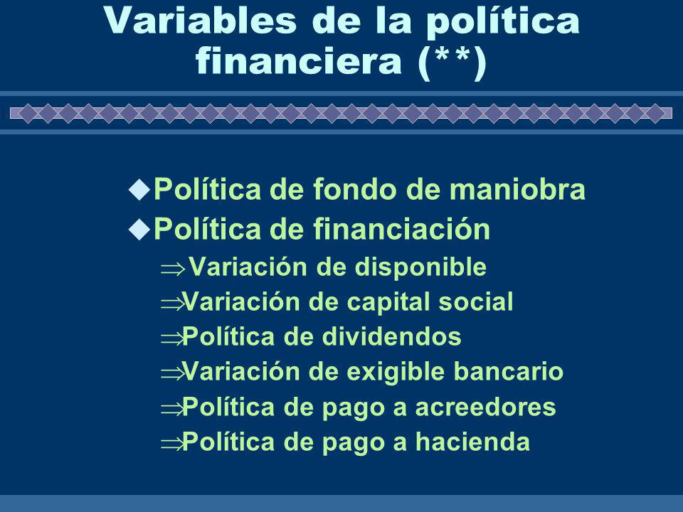 Variables de la política financiera (**)
