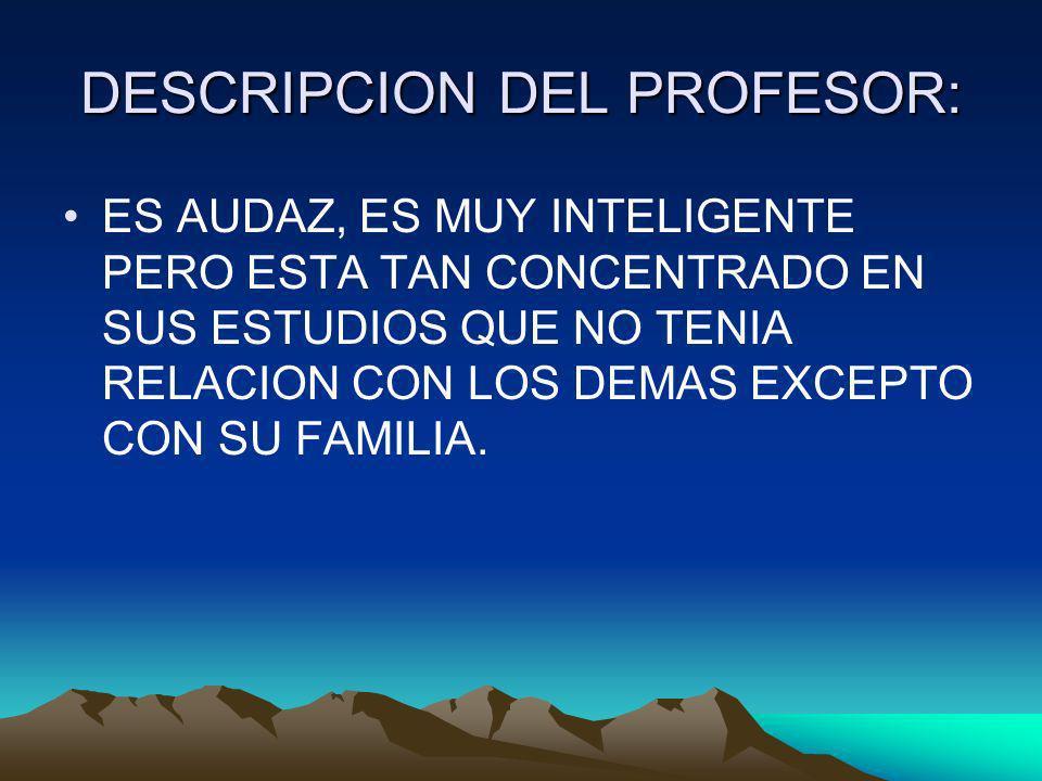 DESCRIPCION DEL PROFESOR: