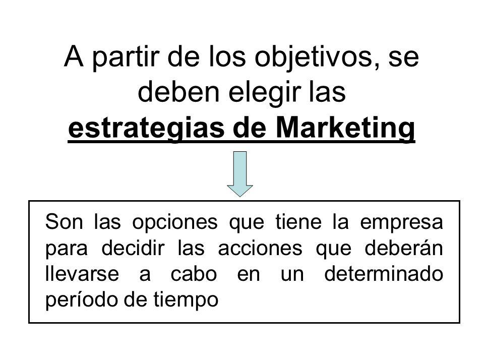 A partir de los objetivos, se deben elegir las estrategias de Marketing