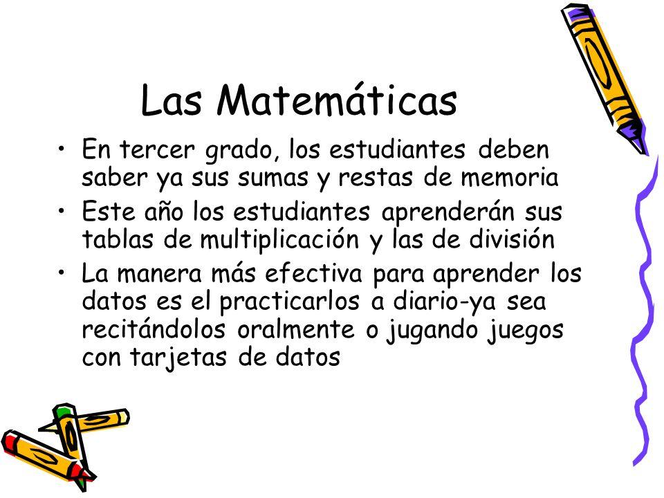 Las Matemáticas En tercer grado, los estudiantes deben saber ya sus sumas y restas de memoria.