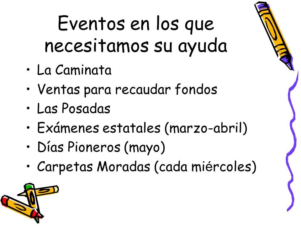 Eventos en los que necesitamos su ayuda