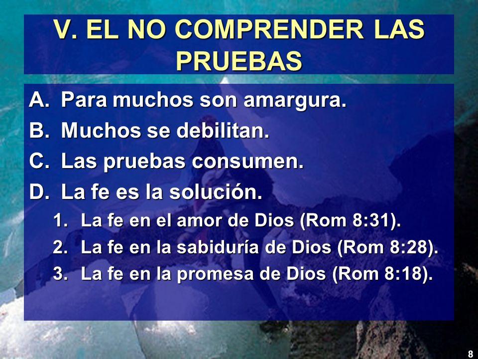 V. EL NO COMPRENDER LAS PRUEBAS