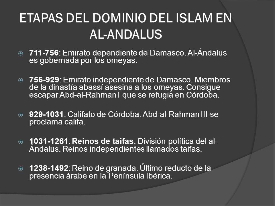 ETAPAS DEL DOMINIO DEL ISLAM EN AL-ANDALUS