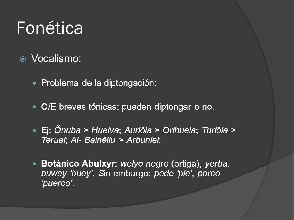 Fonética Vocalismo: Problema de la diptongación: