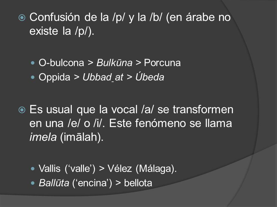 Confusión de la /p/ y la /b/ (en árabe no existe la /p/).