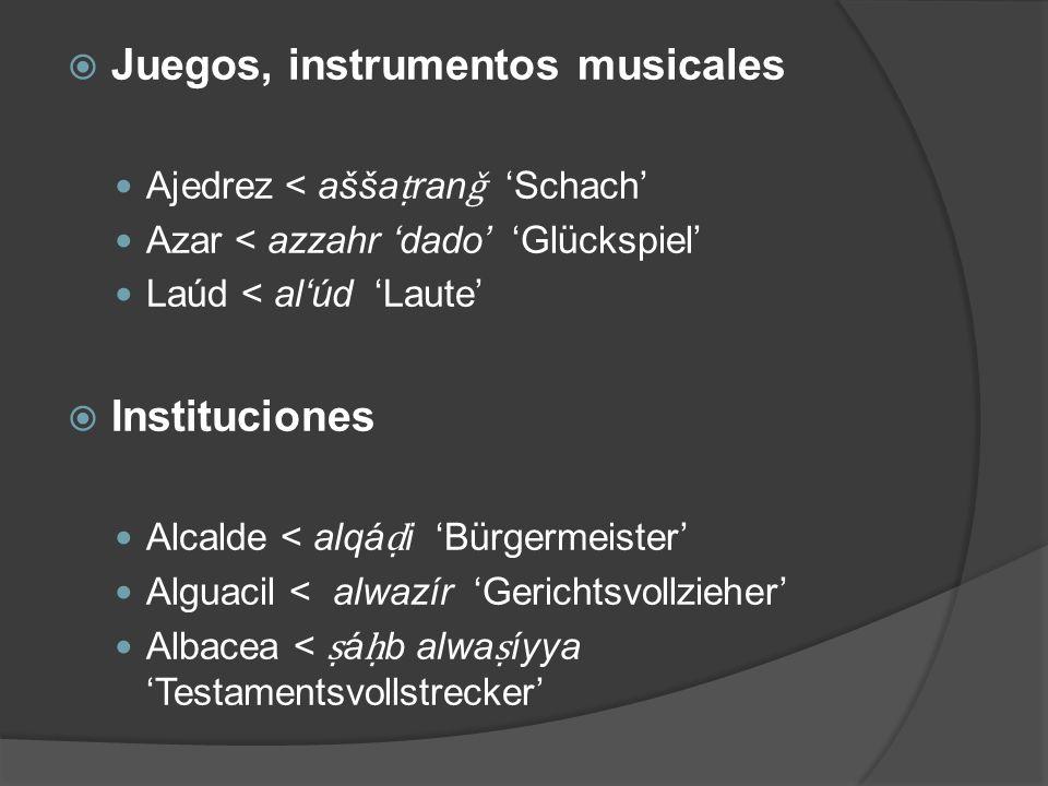 Juegos, instrumentos musicales